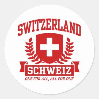 Suiza Schweiz Pegatina Redonda