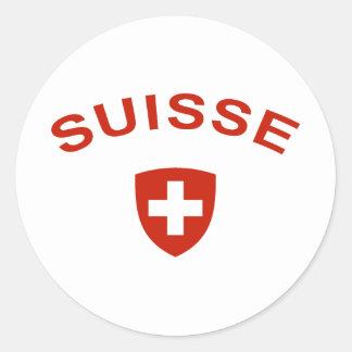 Suiza Suisse Pegatina Redonda