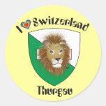 Suiza Suisse Svizzera Svizra Switzerland pegamento Etiqueta Redonda