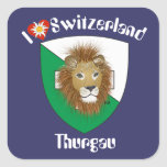 Suiza Suisse Svizzera Svizra Switzerland pegamento Calcomanía Cuadrada