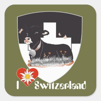Suiza Suisse Svizzera Svizra Switzerland pegamento Pegatina Cuadrada