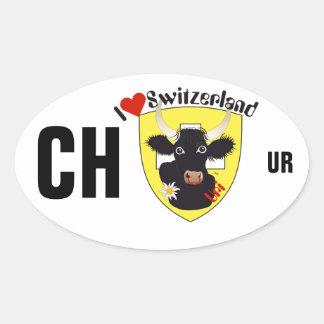 Suiza Suisse Svizzera Svizra Switzerland pegamento Pegatina Ovalada