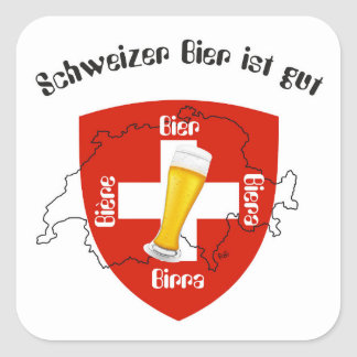 Suiza - Suisse Svizzera - Svizra - Switzerland Pegatina Cuadrada