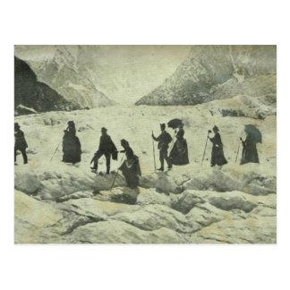 Suiza, turistas en el glaciar de Jungfrau, Postal