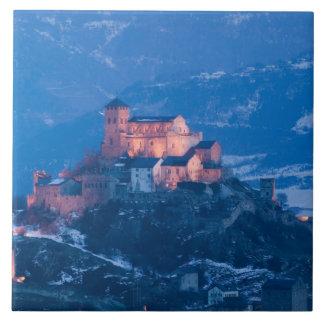 SUIZA, Wallis/Valais, SION: Basilique de Azulejo Cuadrado Grande