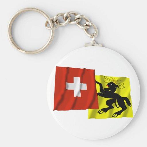 Suiza y banderas que agitan de Schaffhausen Llavero Redondo Tipo Pin