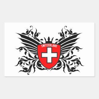 Suizo escudo de armas con ala pegatina rectangular