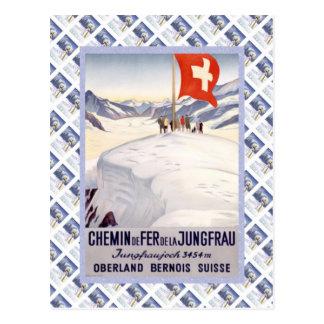 Suizo Raulway Jungfrau Jungfraujoch del vintage Postal