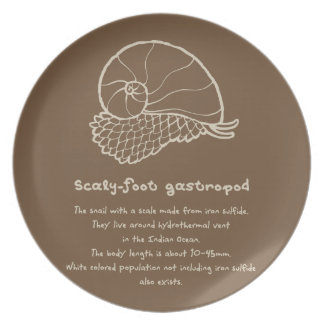 < sukerihutsuto (beige) > Scaly-foot gastropod Dinner Plate