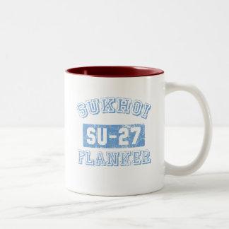 Sukhoi Flanker - BLUE Two-Tone Coffee Mug