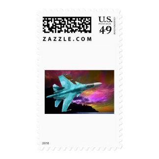 Sukhoi Su-47 (S-37) Berkut Supersonic Jet Fighter Postage Stamp