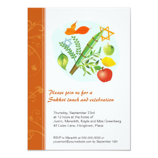 Sukkot Celebration 4.5x6.25 Paper Invitation Card