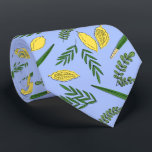 """Sukkot Four Species Neck  Tie<br><div class=""""desc"""">Four species for Jewish Holiday Sukkot palm branch,  willow and myrtle leaves,  yellow etrog.</div>"""