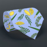 "Sukkot Four Species Neck  Tie<br><div class=""desc"">Four species for Jewish Holiday Sukkot palm branch,  willow and myrtle leaves,  yellow etrog.</div>"
