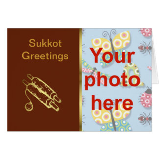 Sukkot Jewish holiday custom photo add photo Card
