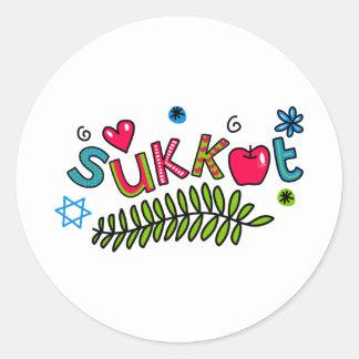 Sukkot Jewish Holiday Text Classic Round Sticker