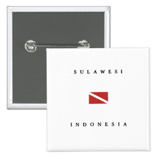 Sulawesi Indonesia Scuba Dive Flag Pinback Buttons