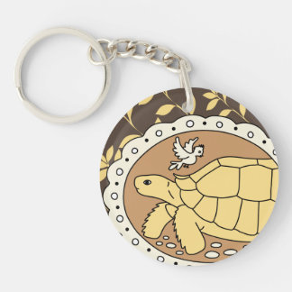 Sulcata Tortoise Keyring (brown oval)