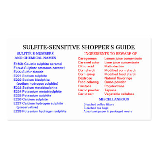 Sulfite-Free Shopper's Guide Business Card