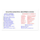 Sulfite-Free Shopper's Guide Business Card Template