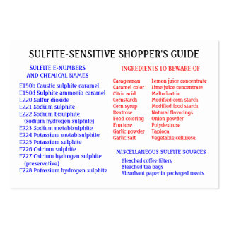 Sulfite-Free Shopper's Guide - Chubby Card Large Business Cards (Pack Of 100)