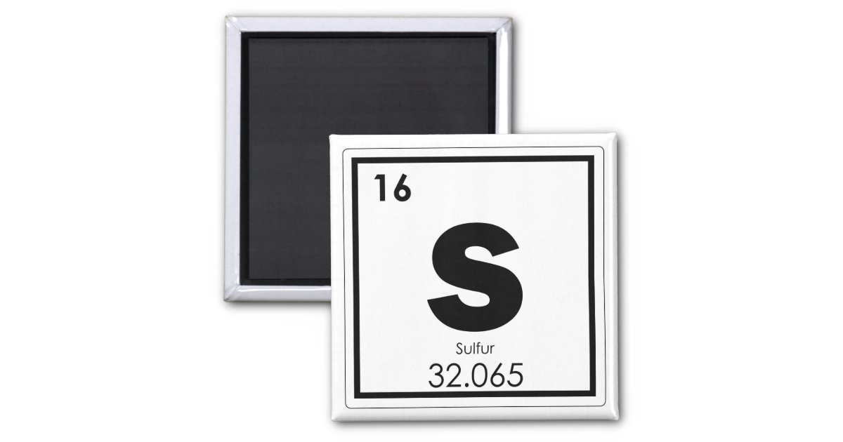 Sulfur Chemical Element Symbol Chemistry Formula G Magnet Zazzle