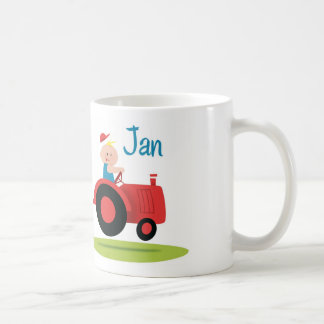 Sulk with baby in motor tractor coffee mug