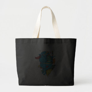 sulking monster with pals vector art 2 jumbo tote bag