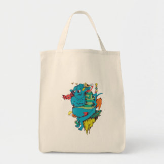 sulking monster with pals vector art 2 grocery tote bag