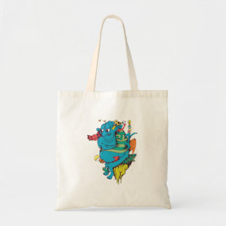 sulking monster with pals vector art 2 budget tote bag