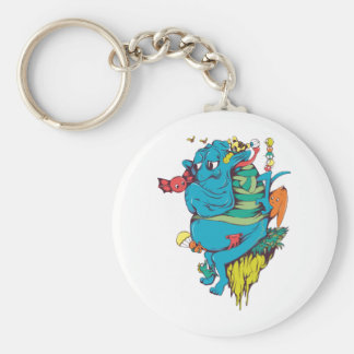 sulking monster with pals vector art 2 basic round button keychain