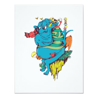 "sulking monster with pals vector art 2 4.25"" x 5.5"" invitation card"