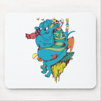 sulking monster with pals vector art 2 mouse pad