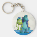 Sulley Holding Mike Basic Round Button Keychain