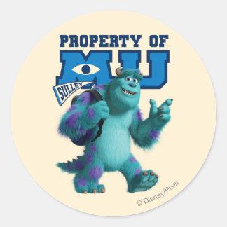 Sulley Property of MU Round Sticker