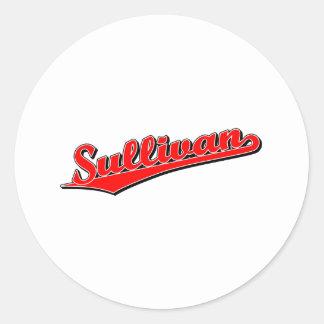 Sullivan in Red Round Stickers