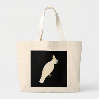 Sulphur-crested Cockatoo - Cacatua galerita Black Large Tote Bag