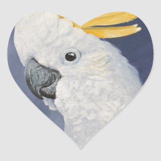 Sulphur crested Cockatoo gift for the parrot lover Heart Sticker