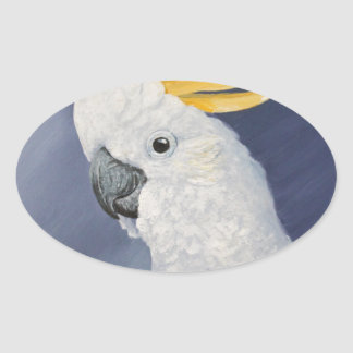Sulphur crested Cockatoo gift for the parrot lover Oval Sticker