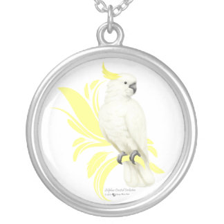 Sulphur Crested Cockatoo Round Pendant Necklace