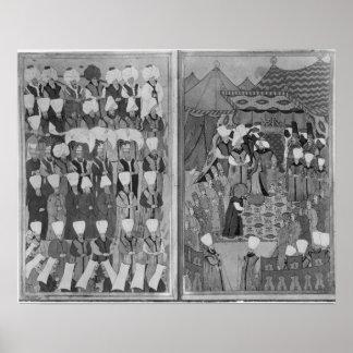 Sultán Ahmed III que distribuye el dinero Póster