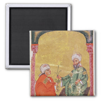 Sultan Ahmet III  with one of his disciples 2 Inch Square Magnet