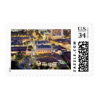 Sultan Mosque in Singapore at Night Postage Stamp