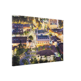 Sultan Mosque in Singapore at Night Wrapped Canvas