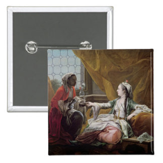 Sultana being offered coffee by a servant pinback button