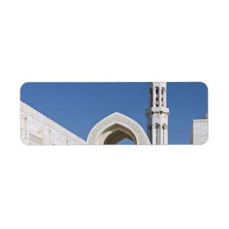 Sultanato magnífico Omán de Muscat de la mezquita  Etiqueta De Remite