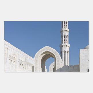 Sultanato magnífico Omán de Muscat de la mezquita Rectangular Pegatinas