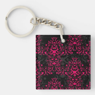 Sultry Flaming Pink and Black Floral Damask Keychain
