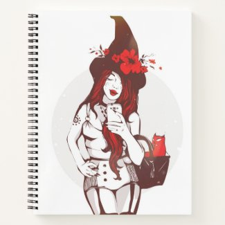 Sultry Witch and Cat Notebook