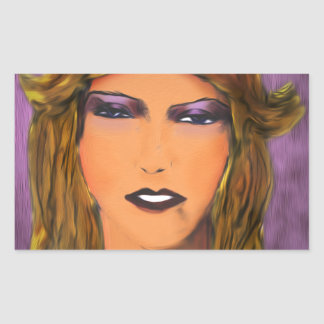 Sultry Woman Sketch Rectangular Sticker